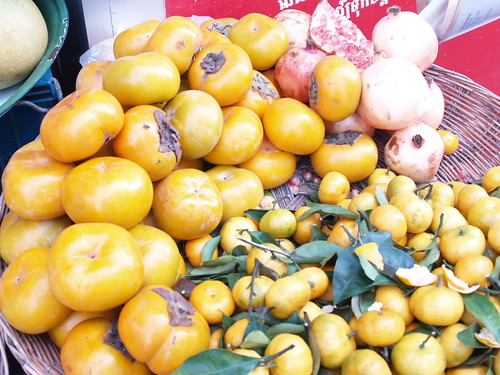 persimmons and pomegranates