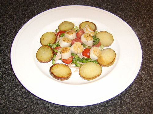 Seared Sea Scallops on BLT Salad with Oven Roasted Potato Slices
