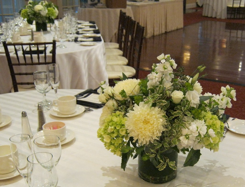 Low Natural designed white and green centerpieces