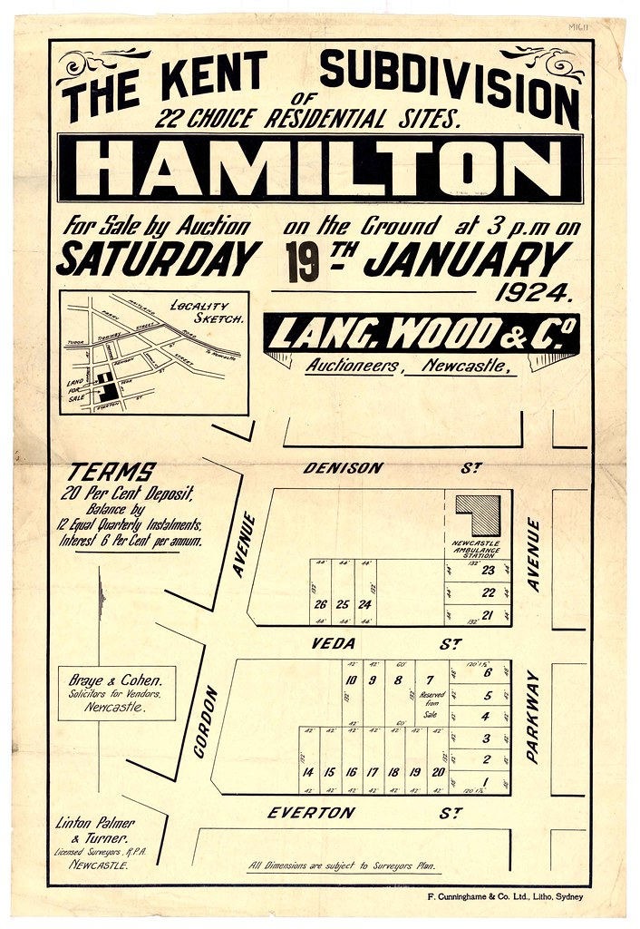 M1611 - The Kent Subdivision, Hamilton. Saturday 19th January, 1924.