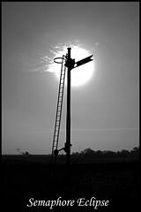 Semaphore Eclipse (Resilient741) Tags: b w bw black white semaphore signal railway silhouette eclipse sun sunshine lake district portrait photo photography duddon viaduct foxfield ladyhall br british rail art artistic photoshop frame it