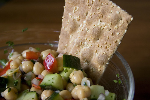 Chickpea & veg salad with crackers