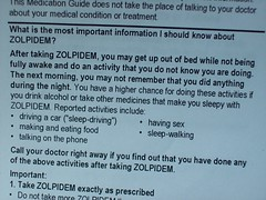 Zolpidem: For your sleep-sex drive (Crack a Spine) Tags: label text caution instructions prescription sleepwalking zolpidem