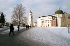 Vilnius (Peter Gutierrez) Tags: photo europe european eastern baltic lithuania lithuanian lietuvos vilnius vilna wilno street sidewalk pavement public old ancient medieval city urban town center centre people person pedestrian pedestrians peter gutierrez petergutierrez film photograph photography