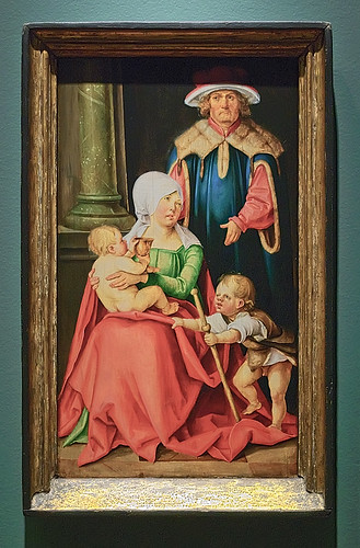 "Oil on panel, ""Mary Salome and Zebedee with Their Sons James the Greater and John the Evangelist"", by Hans Suess von Kulmbach, ca. 1511, at the Saint Louis Art Museum, in Saint Louis, Missouri, USA"