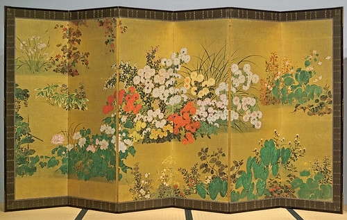 "Paper screen, ""Flowers and Plants of the Four Seasons"", Japanese, Edo Period, 18th century, at the Saint Louis Art Museum, in Saint Louis, Missouri, USA"