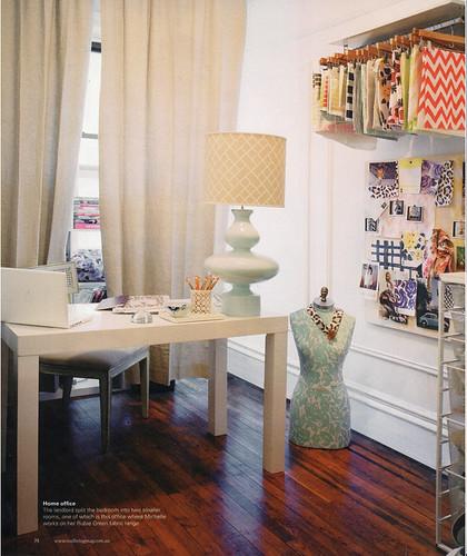 Ideas for small spaces: Parsons desk + hidden storage + Jonathan Adler lamp