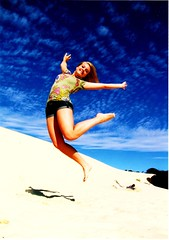 Sand Dune Jump - Moreton Island, Australia (Tracey Tilson Photography) Tags: travel blue summer sky anna students island happy jump sand dunes joy free australia teachers 2009 p2p confident worldly moreton peopletopeoplestudentambassadors