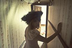 (yyellowbird) Tags: ohio wallpaper house abandoned girl hat hall beast cari