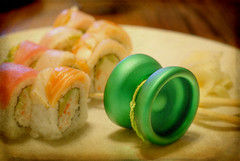 Wasabi /w Dinner. (faheja) Tags: green texture love sushi creative plate spinning passion wasabi looping yoyo gf yoyonation
