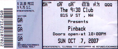 20071007 - MC Chris ticket stub (he's not on the ticket though, 'cause he opened for Pinback)