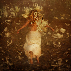 interpretation of a storm (brookeshaden) Tags: selfportrait storm fall angel fly feathers float blizzard brookeshaden texturebylesbrumes