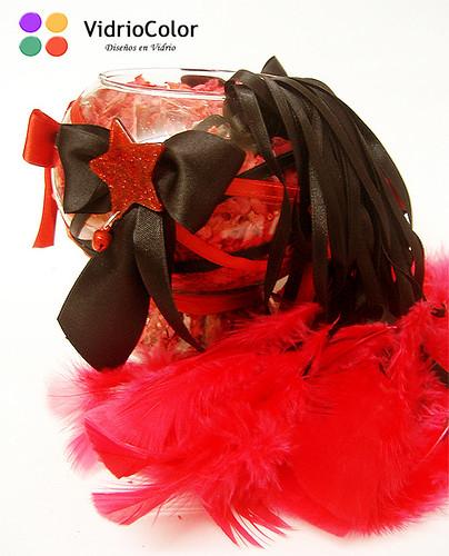 Copón chico Rojo y negro