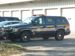 New York State Police Chevy Tahoe (JLaw45) Tags: new york blue car truck gold gm cops state general navy tahoe police motors chevy vehicle parked suv patrol striped dealership 2wd