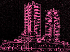Essalam Series 7 - Pink II (Jacco van Giessen) Tags: city holland color building art netherlands architecture photoshop construction rotterdam image artistic minaret shift manipulation mosque negative series alteration zuidholland moskee feijenoord essalam