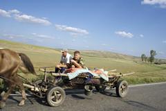 2hp (Nad) Tags: road horse hat wagon landscape bucket highway quilt arse transport romania farmer cart tyres moldova horsepower