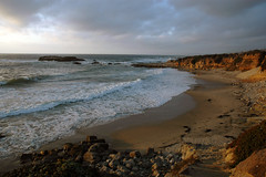 Pescadero beach (chrisrfox) Tags: ocean california sunset beach fog clouds rocks waves reef pescadero sanmateocoast
