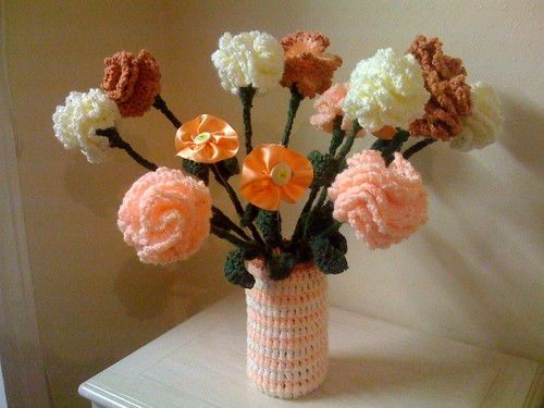 Attic 24 Inspired! Vase Jacket and my Crocheted and Button Flowers.