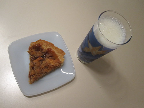 Pie and milk at home