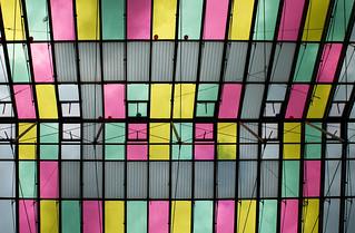 colored glass roof @ rathausgalerien innsbruck austria
