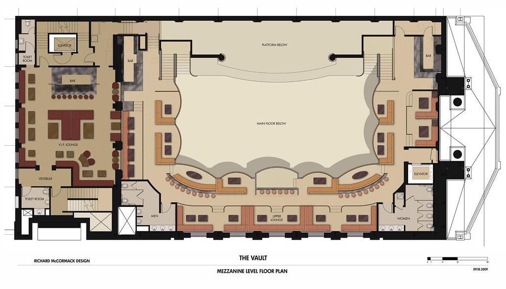 The Vault 350 Future Floor Plan with Main Floor, Mezzanine and VIP Room