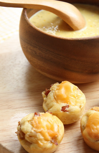 corn soup and potato bacon muffin 1