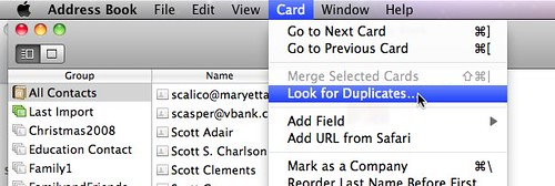 Look for Duplicates in Mac Address Book