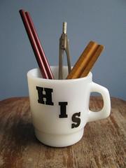 Vintage Glasbake His Mug (buppins) Tags: white black coffee vintage tea mug his glasbake buppins