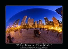 """Reflections on Cloud Gate"" (Sam Antonio Photography) Tags: park city travel chicago art architecture canon blog illinois midwest flickr unitedstates dusk bean milleniumpark bluehour millenniumpark chicagoloop cloudgate thebean anishkapoor obama oprah facebook windycity travelphotography mayordaley canoneos50dcamera canonphotography twitter mywinners chicagophotography chicagoattractions samantonio samantoniophotography canonefs1022lens"