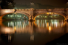 Simmetry (Vincenzo Giordano) Tags: bridge autumn italy orange green fall night reflections river torino lights boat nikon fiume ponte piemonte po turin piedmont soe umbertoi d40 topseven platinumphoto