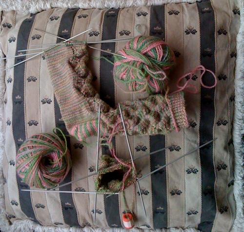 Spring Forward socks, in progress