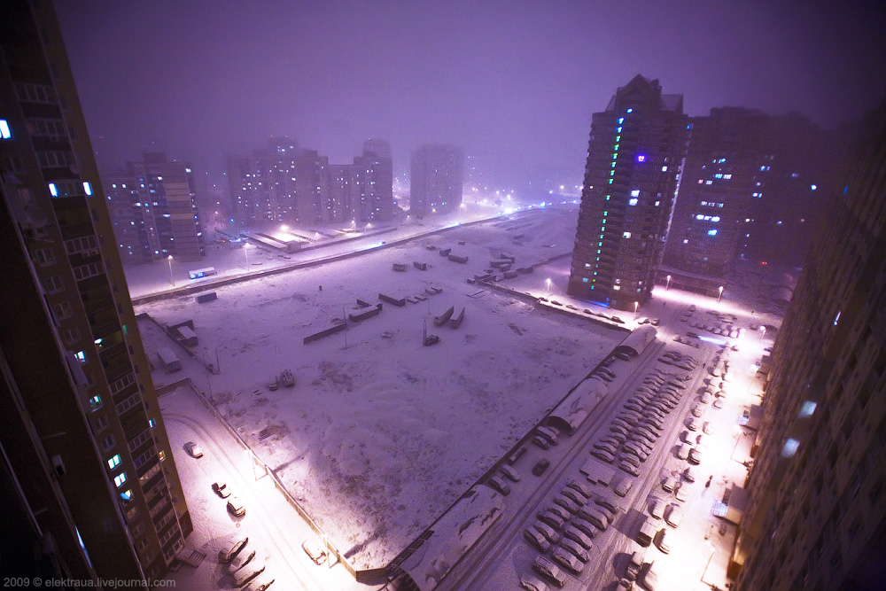 Фото зимней ночной москвы с крыши
