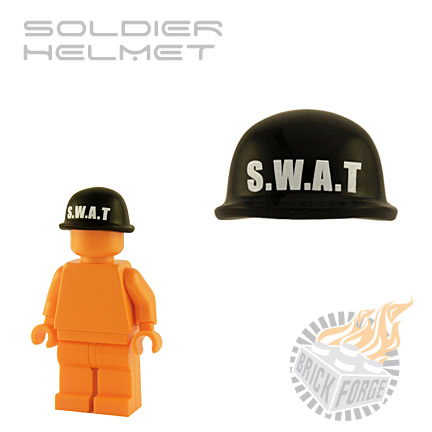 Soldier Helmet - Black (white SWAT print)