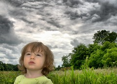 watching for the storm (Will Montague) Tags: flowers portrait storm black green floral field clouds danger landscape scary woods nikon child ominous foreboding kentucky dramaqueen fear gray cumulus worry wildflowers scared soe hdr cloudscape hdri montague cumulonimbus mammatus mammatocumulus blueribbonwinner scottcounty d80 platinumphoto anawesomeshot willmontague