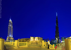 Old Town BurjDubai - Pnorama (A.alFoudry) Tags: travel bridge blue sunset summer people panorama building tower water yellow night canon eos lights hotel big long downtown dubai pano united uae tourist full arab ii frame huge 5d kuwait usm fullframe longest emirate ef address kuwaiti burj q8  the abdullah   1635mm burjdubai    || f28l kuw q80 xnuzha alfoudry  abdullahalfoudry foudryphotocom  canonef1635mmf28lusmii mark|| 5d|| canoneos5d|| mk|| canoneos5dmark||