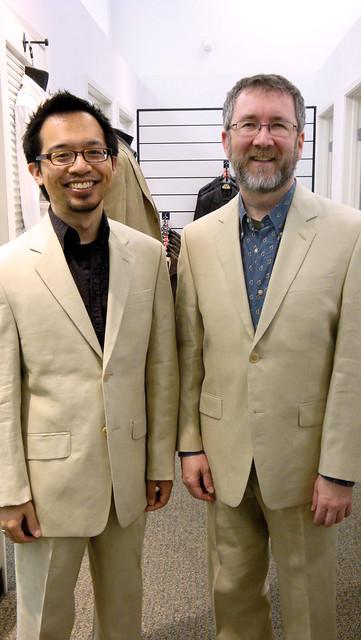 gay wedding jeff linen tan suit thom calvinklein commitmentceremony menswearhouse