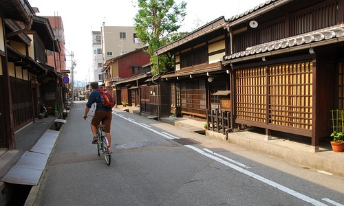 biking through sanmachi district, takayama