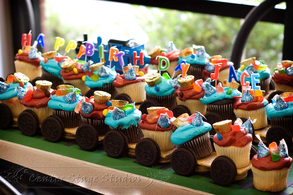 Thomas the Tank Engine cupcake train