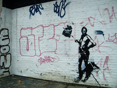 hunting bushman (l.e.t.) Tags: street streetart pasteup art colors graffiti artwork stencil sticker screenprint artist contemporary kunst pop spray popart silkscreen artshow dsseldorf let primitive