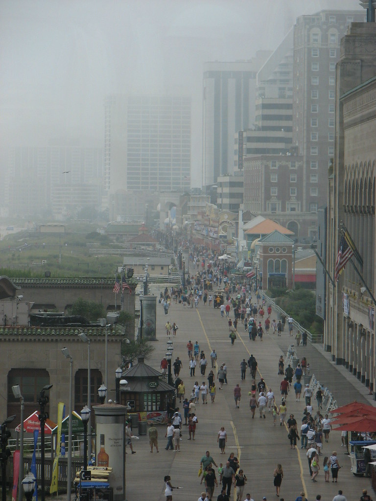 The boardwalk in Atlantic City on a rainy day in August