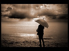 hopeful (Atilla1000) Tags: black girl sepia clouds umbrella seaside hopeful silivri