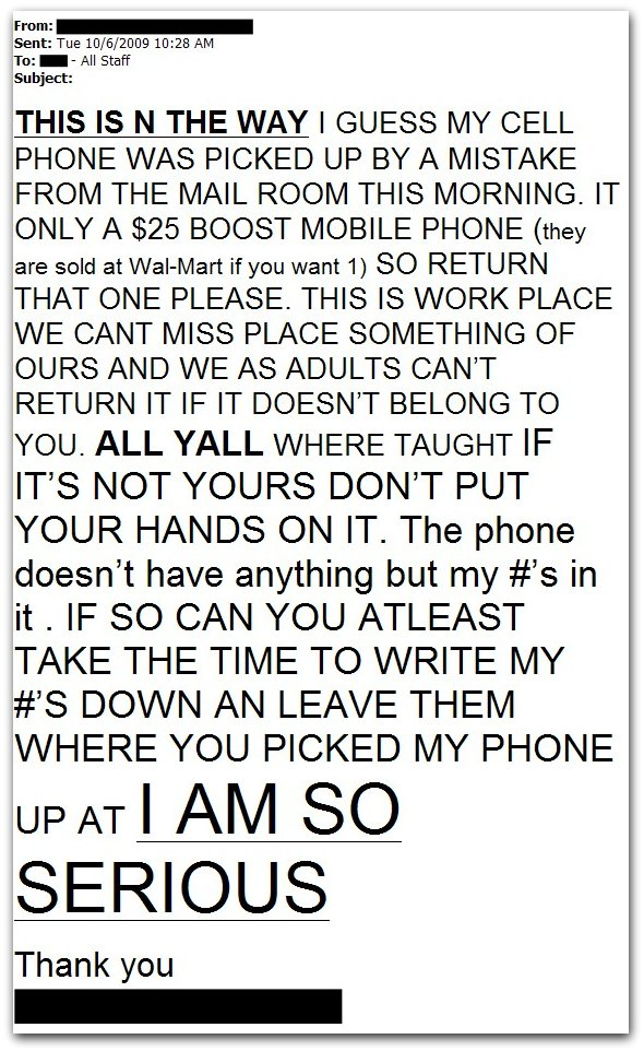 passiveaggressivenotes.com: funny, spelling-and-grammar-challenged e-mail to office about missing boost mobile cell phone