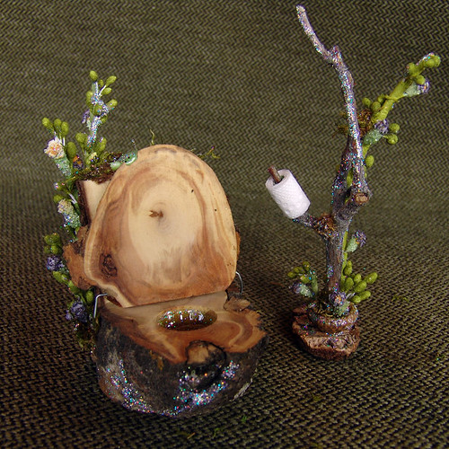 Miniature Fairy or Dollhouse Toilet with Frog