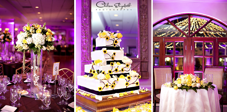 Wedding reception, The Turnip Rose, purple up lighting, wedding cake, sweetheart table, white and yellow centerpieces