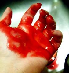 bloody hand (Jo Naylor) Tags: red crimson wall blood mess hand run drop drip gore murder bloody splatter splat glop masacre bloodred coveredinblood runningblood pouringblood