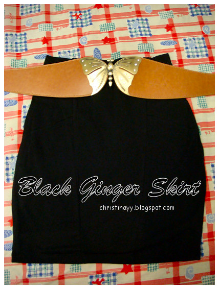 Shopping Items: Black Ginger Skirt & Brown Butterfly Waist Belt