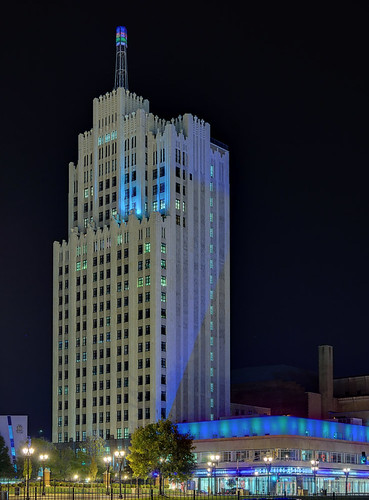 Continental Life Building, in Saint Louis, Missouri, USA - view at night