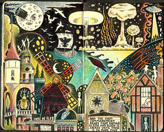 The Stranglers: Midnight Summer Dream (color version) (pageofbats) Tags: moon moleskine illustration ink lyrics midsummer dream ufo aliens illustrationfriday fanart moulinrouge psychedelic stranglers mushroomcloud meninblack rattusnorvegicus hughcornwell thestranglers imaginarylandscape georgesmlis kiplingwest midnightsummerdream