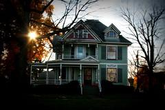 old house (jen ) Tags: old autumn trees windows sun house green fall sunshine oldhouse veranda porch shutters mansion bushes shrubs