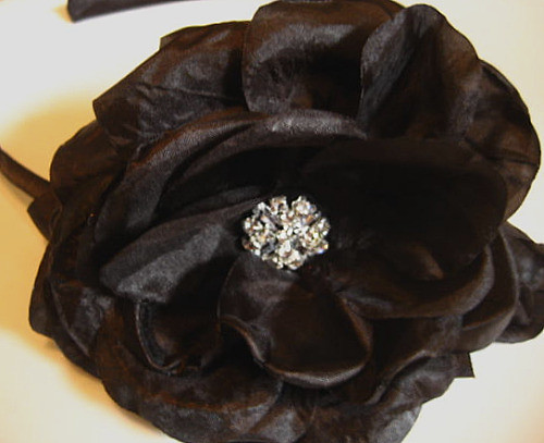 Black silk flower -Hair Flower - Rhinestone- Headband - Perfect for Fall-Rhinestone White Crystal Center